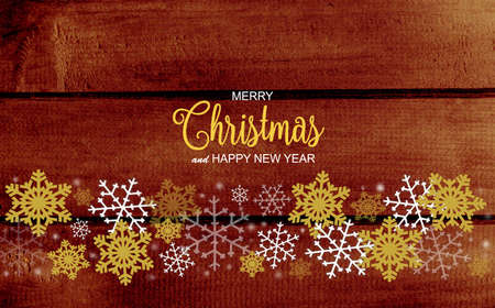 Christmas and New Year Greeting Card with decorative border white, gold and silver snowflakes