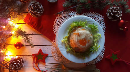 Aspic jellied meat with vegetables on Christmas background Stok Fotoğraf - 130611347