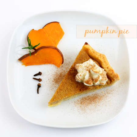 A slice of homemade sweet pumpkin pie isolated on white background. Top view with tag pumpkin pie