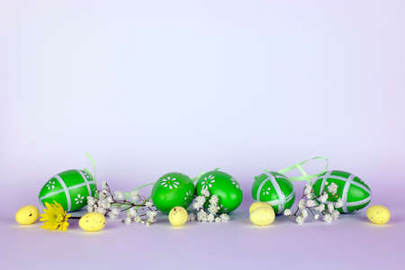 Easter eggs and flowers isolated