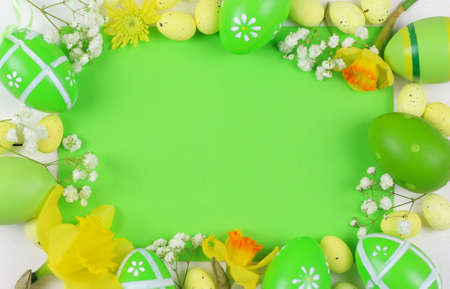 Easter decoration with eggs and flowers with empty tags
