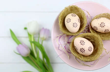 Easter eggs in baskets