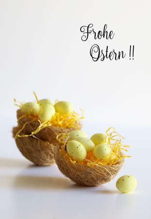Easter eggs in baskets with tag