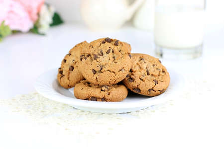 Chocolate chip cookies on a white background Stok Fotoğraf