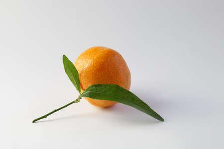 Close up of single fresh mandarin isolated on white background