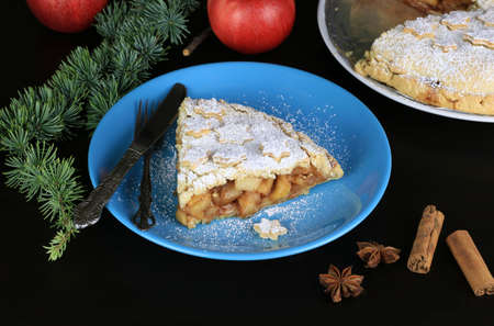 Homemade american traditional holiday pie. A slice of apple pie dessert with Christmas decoration
