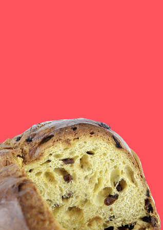 Concept of italian food.Traditional Italian Christmas Panettone cake with dried fruits.