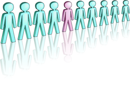 main group: symbolized men standing in a line, one of them is different, and is standing out Illustration