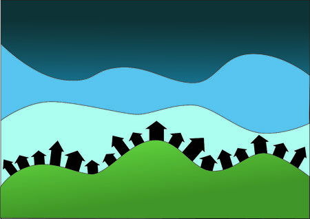 cartoon-like hill with houses in a row, blue skies in the background