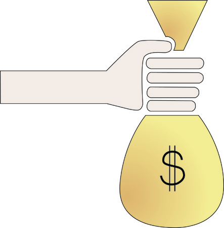 vector of symbolized human hand holding a bag full of money Illustration