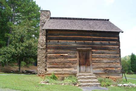 Log blockhouse at center of Old Fort Yargo Stock fotó
