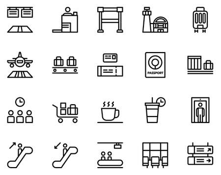 Simple set of airport icons on white background. 矢量图像