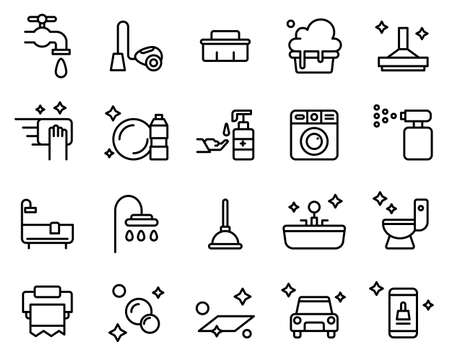 Simple set of cleaning icons on white background.