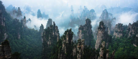 Mountain Peaks in Zhangjiajie National Forest Park, China Stock Photo
