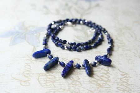 lapis: Lapis lazuli and silver necklace