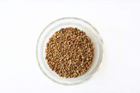 fenugreek: Fenugreek seeds in a small bowl