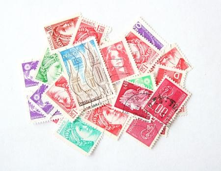 old envelope: Postage stamps from France