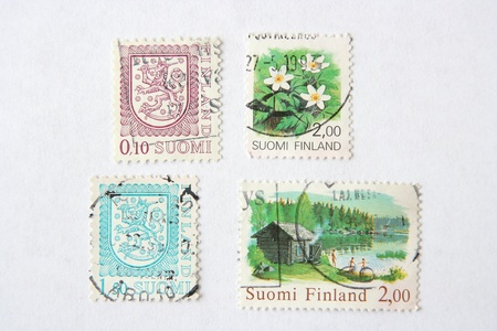 Postage stamps from Finland photo