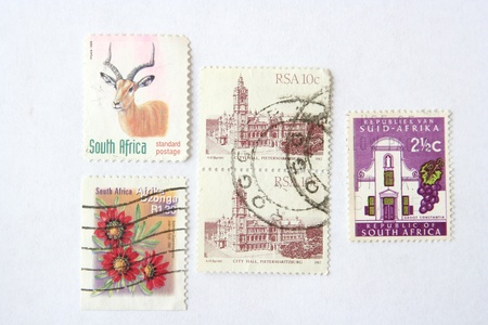 stamp collecting: Post stamps from South Africa Stock Photo