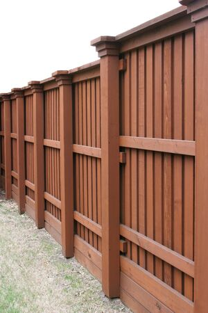 Angle view of cedar fence photo