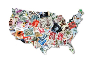 postage stamp: Americas with diverse backgrounds Stock Photo