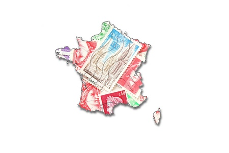 French postage stamps in the shape of France Stock Photo - 9469397