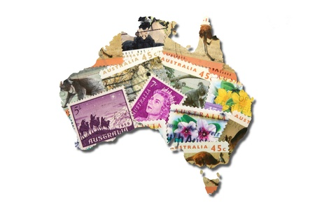 postage stamp: Australian postage stamps in the shape of Australia Stock Photo