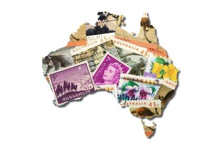 coala: Australianas sellos postales en la forma de Australia Foto de archivo