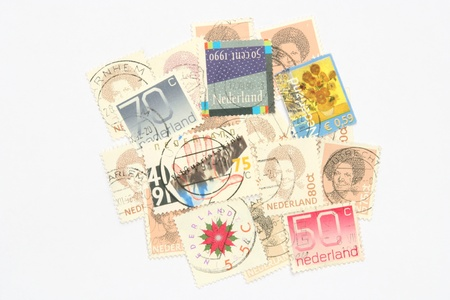 old envelope: Postage stamps from the Netherlands Stock Photo