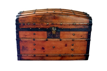 lock: Closed wooden chest Stock Photo