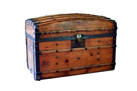 Closed wooden chest Stock Photo