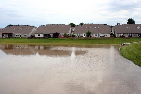 duplex: Duplex houses on a lake Stock Photo