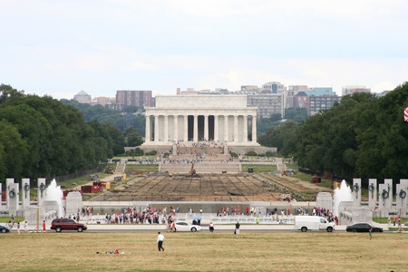 Lincoln Memorial Reflecting Pool Construction Stock Photo