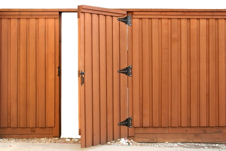 Opening gate in a wood fence