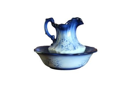 wash basin: Antique blue wash basin  Stock Photo