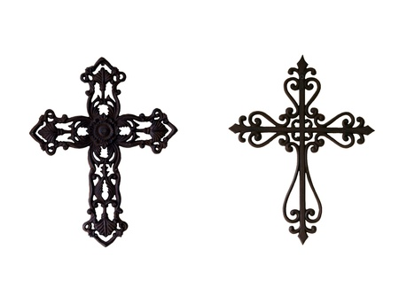 cruz religiosa: Dos cruces de hierro ornamental