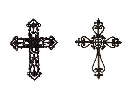 kruzifix: Zwei kunstvoll gearbeitete schmiedeeiserne Kreuze