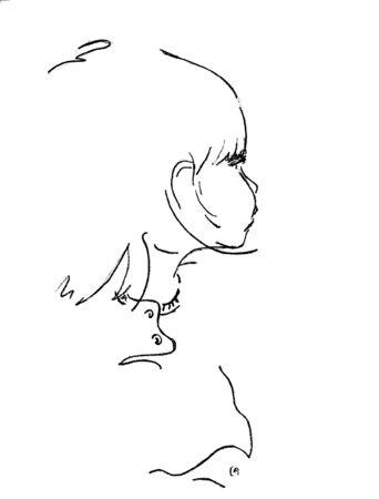 Hand drawn profile of a child Stock Photo - 10320228