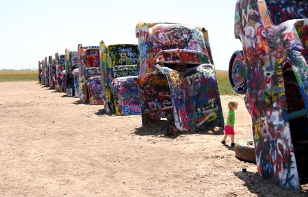 Amarillo, Texas, June 2010 - Toddler at Cadillac ranch public art sculpture
