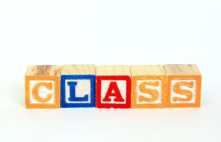 Class in alphabet blocks