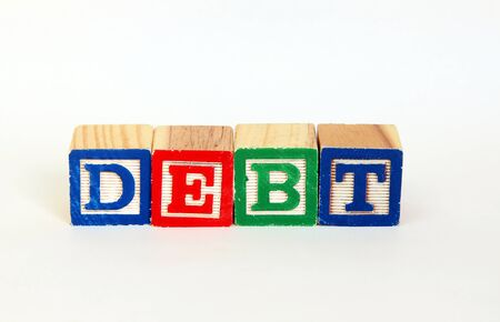Debt in alphabet blocks