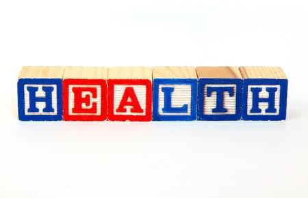 Health in alphabet blocks