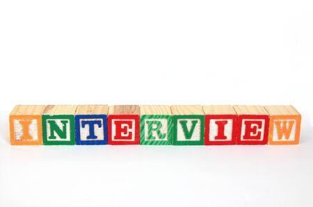 Interview in alphabet blocks