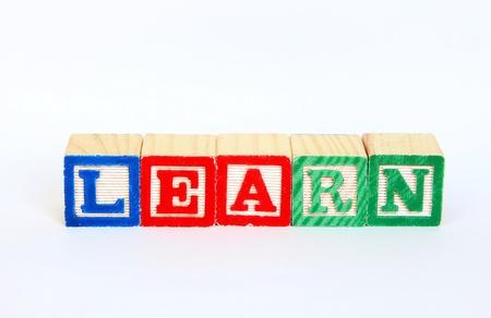 Learn in alphabet blocks Stok Fotoğraf