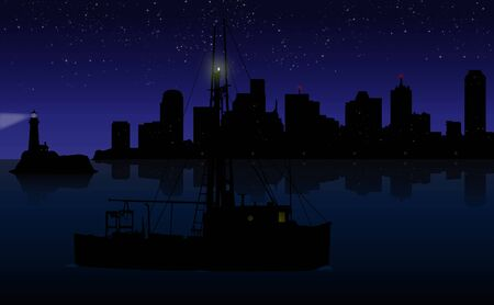 A ship at twilight in front of skyline and lighthouse Vector