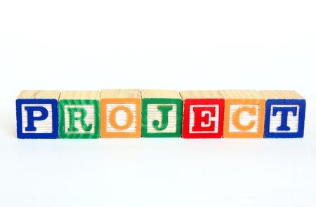 Project in alphabet blocks Stok Fotoğraf