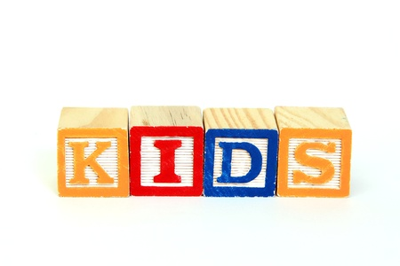 The word kids in alphabet blocks photo