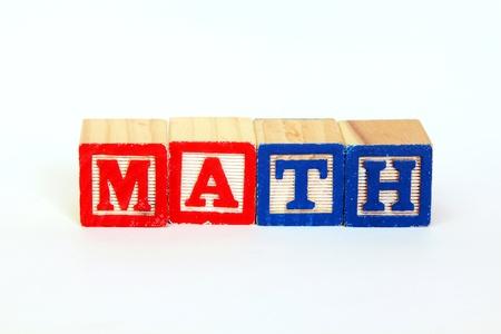 The word math in alphabet blocks photo
