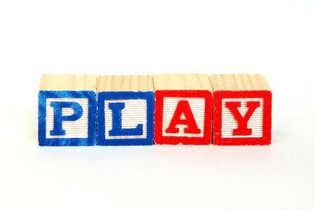 Play in alphabet blocks