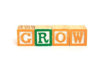Grow in alphabet blocks Stok Fotoğraf